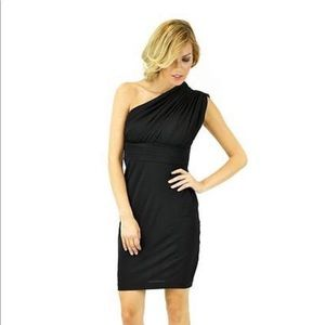 Black one shoulder Halston Heritage dress